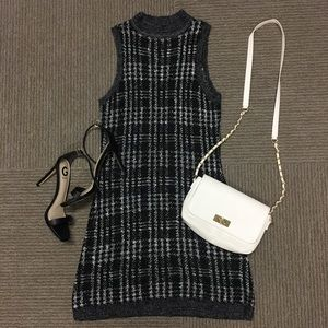 NWOT Black Gray Plaid Knit High Neck Dress